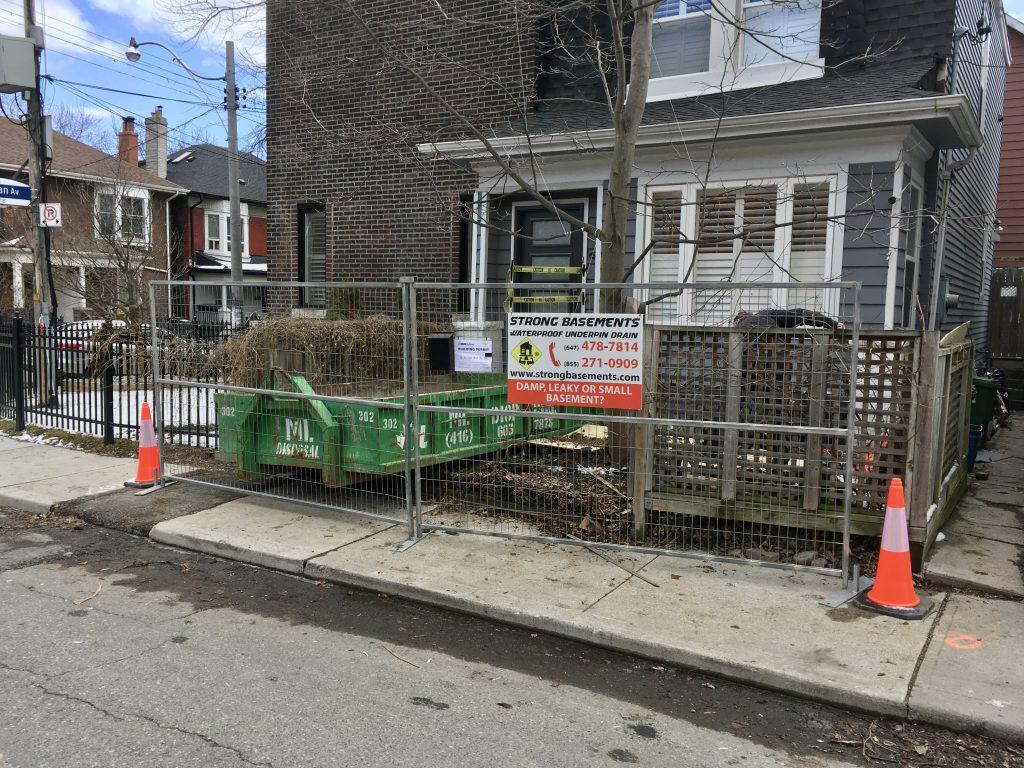 Basement Underpinning work site in Toronto
