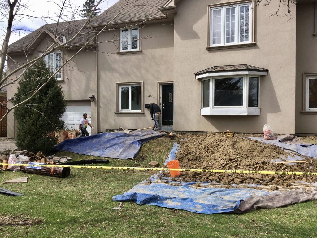 Excavation for basement waterproofing in Toronto