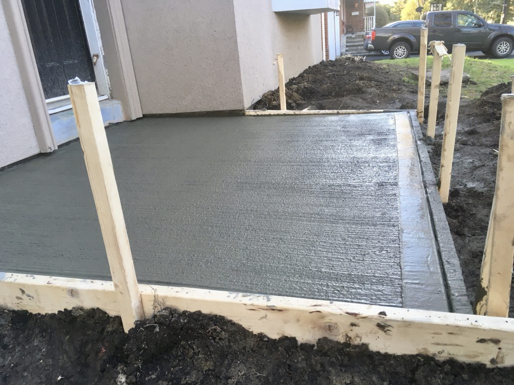 Freshly poured Concrete Pad in Toronto