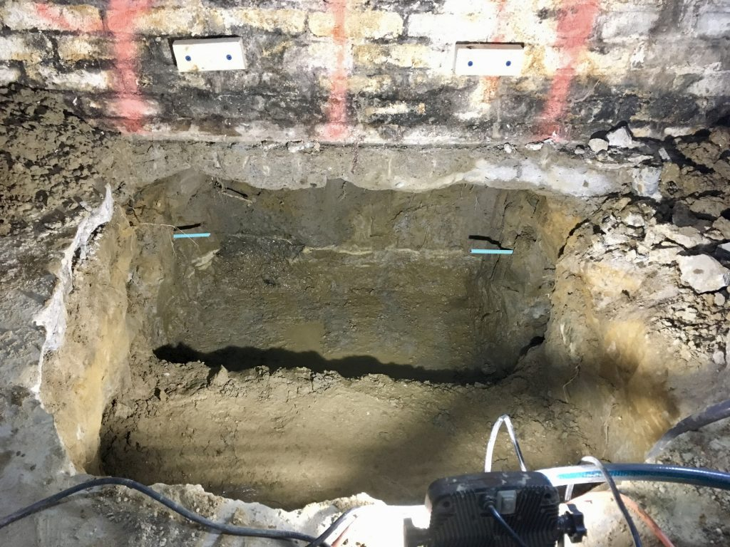 Underpinning section excavated