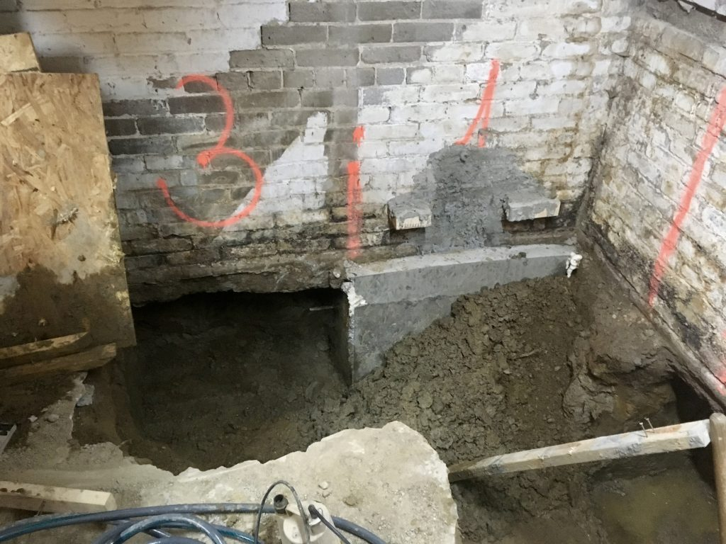 Third underpinning section excavated and cleaned
